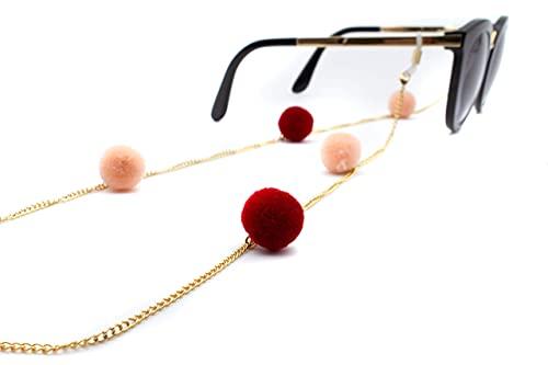 GERNEO - DAS ORIGINAL - Premium Brillenkette & Brillenband in diversen Farben - aus 18 Karat Gold - Kette mit Bommeln in Samtoptik (gold) - Unisex für Lesebrille & Sonnenbrille - Kollektion 2020