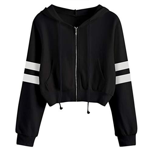 Covermason Hood Sweat-Shirt À Capuche Femme Casual Solid Manche Longue Tee Shirt Zip Court Sweat-Shirt Manteau Veste (Noir,S)