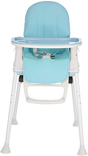 MorNon Baby High Chair 3 in 1 Portable Highchair Dining Table Chair Height-Adjustable Chair Foldable Baby Chair with Tray Wheels, Blue