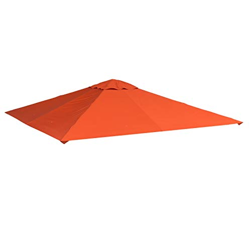Outsunny Tetto di Ricambio 3x3m Telo Sostitutivo per Gazebo da Giardino in Poliestere con Foro di Ventilazione Arancione