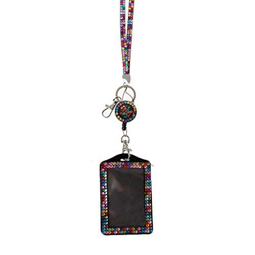 Ixkbiced Rhineone Lanyard Cryal Nelace Badge Tarjetero para Mujer