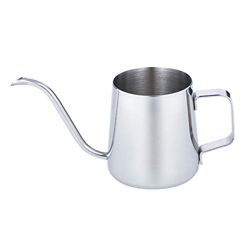 miuse Kaffeekessel 304 Edelstahl, Kaffeekanne Teekanne Kaffee Kettle mit Schwanenhals Schmaler Auslauf 304 Edelstahl 350 ml Perfekt für die Verwendung von Kaffeefiltern & Tee-Zubereitung (silberton)