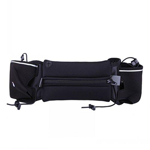 WINOMO sac de taille courroie de course Ceinture d'hydratation extérieur convient pour 4-6 pouces téléphone pour la marche fitness vélo marche hommes et femmes (Noir)