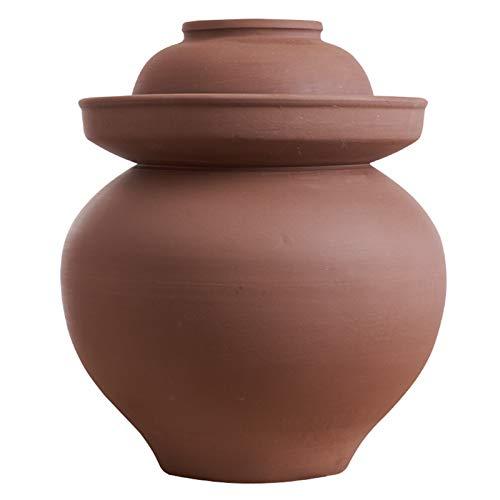 Olla de barro Kimchi con tapa, recipientes de cerámica almacenamiento alimentos, encurtidos domésticos u otros alimentos fermentados Repollo de nabo para tarro de fermentación ancho,6KG