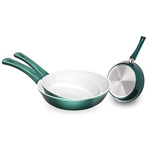 Genius Cerafit Fusion Bratpfannen-Set Induktions-Pfannen Keramik-Pfannen (3 Teile) in Smaragdgrün mit kratzfester Antihaft-Beschichtung für gesundes Kochen ohne Fett und Öl