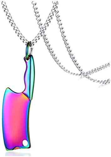 WYDSFWL Collar Mujer Collar Hombre Colgante Collar con Cuchillo de Cocina Colgante Hecho de Acero Inoxidable Dorado y Negro Cuatro Colores a Elegir Color Collar Regalo para Hombre Mujer niña Joven