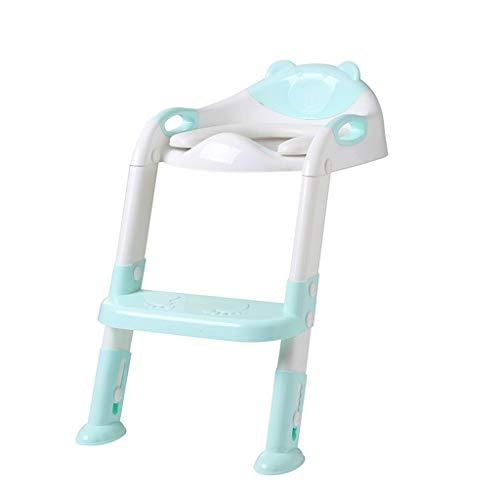 XL- Toilettentrainer mit Treppe - Baby-WC-Trainersitz mit Trittleiter und weichem Toilettensitz, robust und rutschfest (Farbe : Blau)