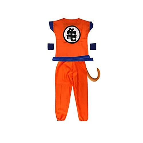 100-140Cm Niños Dragon Ball Z Disfraz De Cosplay Niños Halloween Top + Pant + Belt + Tail + Wrister + Wig Son Goku Cosplay Disfraces Niños M Disfraz De Gui