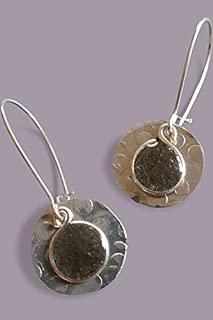 Handmade Lightweight Black Small Round Womens Disc Drop Earrings Beads by Bettina