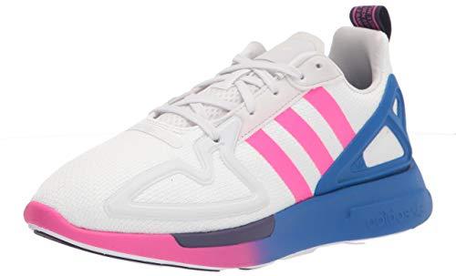 adidas Originals Women's ZX 2K Flux Sneaker, White/Shock Pink/Blue, 8