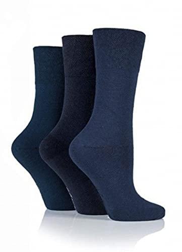 Gentle Grip - Damen Diabetiker-Socken mit Honigkamm-Oberteil & handgekettelten Zehennähten – 37-42 EU, Blau