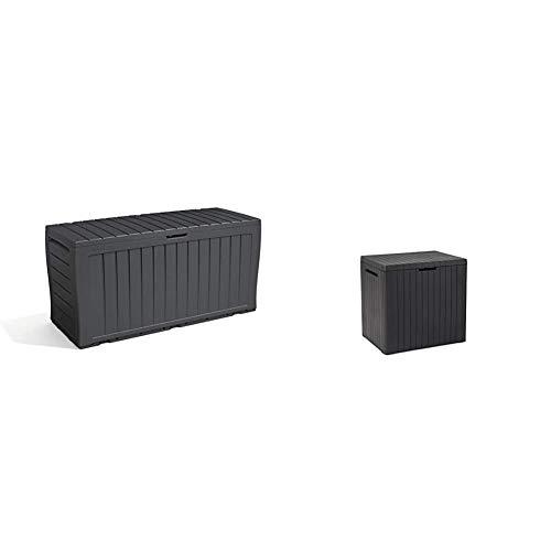 Keter Marvel+ 270L Garden Storage Box - Grey & City Outdoor Storage Box - Dark Grey