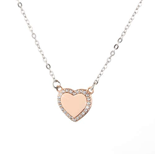 EME 925 sterling silver cubic zirconia crystal heart shaped love pendant necklace rhodium / 18K Gold/Rose gold plated for women (Rose Gold)