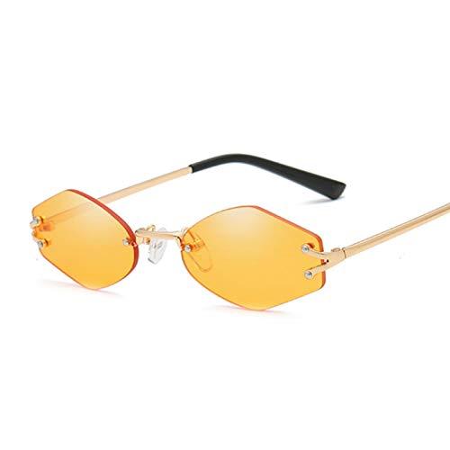 Sunglasses Gafas de Sol de Moda Gafas De Sol Hexagonales De Diseñador Sin Montura Vintage Mujeres Hombres Retro Espejo D
