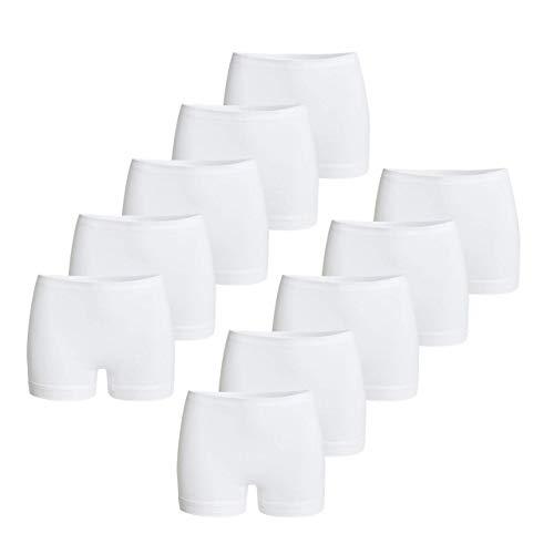 con-ta Pagenschlüpfer 10er Spar-Pack, Damenbekleidung, Unterwäsche für optimale Bequemlichkeit, eng anliegende Pants aus Baumwolle, in Weiß, Größe: 46/XXL