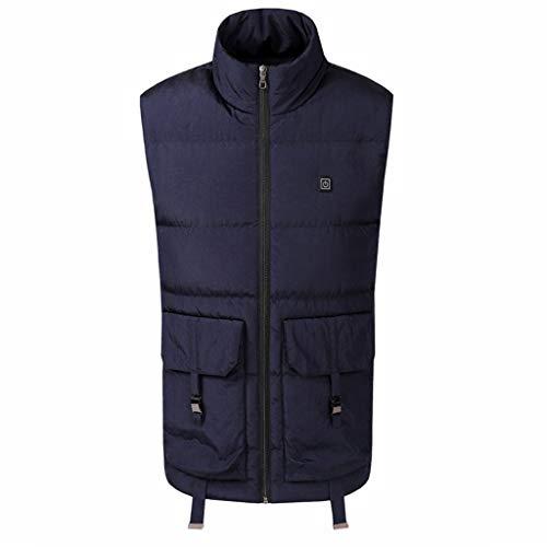 FRAUIT Heren staande kraag verwarmd vest USB elektrische verwarming warm donsjack mouwloos mantel ohlevezel 3 niveaus verwarming donsvest voor outdoor reizen motorsport
