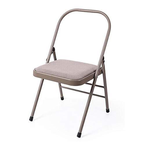 QIDI Chaise Pliante Tabouret Pliant Chaise de Yoga en Cuir Lin Moderne Simplicity Multifonction Pliable - 45 * 45 * 76cm - Noir (Couleur : Frosted Gold Cloth)