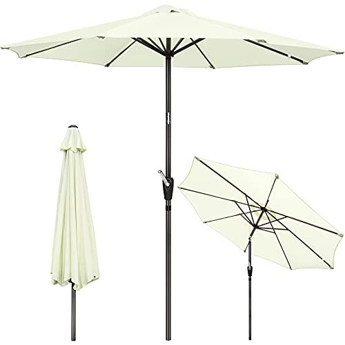 GIKPAL Sombrilla Terraza, 2.7M Parasol de Jardín Grande Sombrilla Playa Protección UV con Manivela y Botón de Inclinación para Terraza Patio Jardín Exterior, Beige