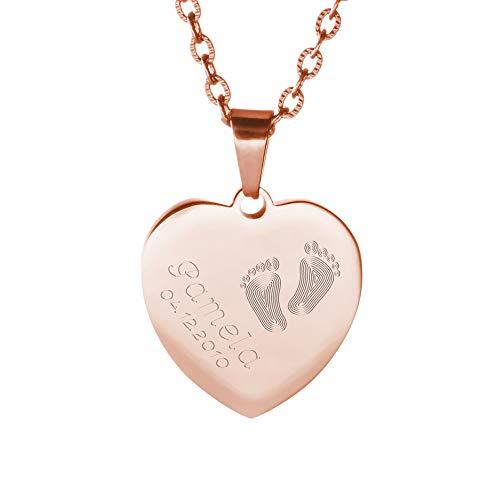 Gravado Halskette aus Roségold-Edelstahl mit Herz Anhänger und Gravur mit Kinder Füßchen, Personalisiert mit Namen und Datum, Mädchen Schmuck