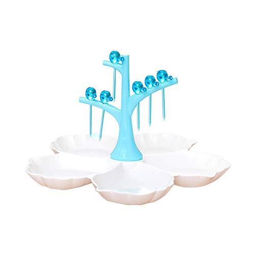 Bandeja de servir con forma de pájaros para comida y aperitivos azul