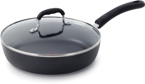 T-fal E93897 Professional Total Nonstick Thermo-Spot Heat Indicator Fry Pan with Glass Lid Cookware, 10-Inch, Black