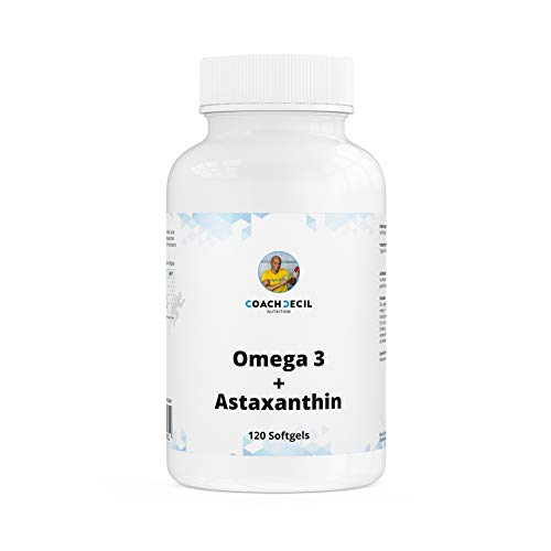 Coach Cecil Omega 3 + Astaxanthin + Vitamin E – 120 Softgels – (Made in Germany, norwegisches Fischöl, 1680mg EPA und 840mg DHA, 12mg des Antioxidans Astaxanthin, 8mg Vitamin E pro Tagesdosis)