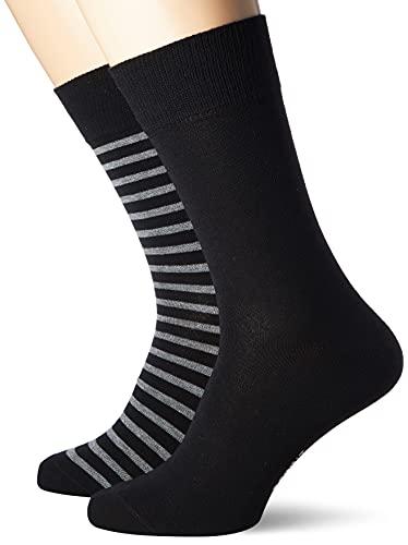 ESPRIT Herren Fine Stripe 2-Pack M SO Socken, Schwarz (Black 3000), 43-46 (2er Pack)