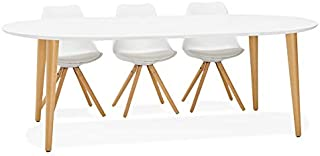 Alterego Table à dîner Ronde Extensible 'IGLOU' Style scandinave - 120(220) x120 cm