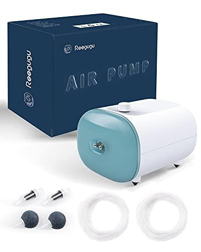Reegugu Bomba de Aire para Acuario, 5W, la Bomba de Aire para pecera más silenciosa con Salida Ajustable, burbujeador de Acuario, Tubo / Piedra de Aire / válvula de retención incluida