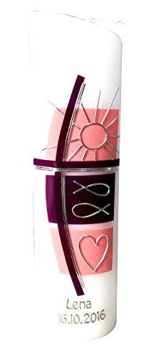 Ovale Taufkerze mit Name, Taufdatum - Sonne - Fische - Herz - brombeer/rosa
