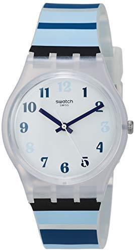 Swatch Unisex Erwachsene Analog Quarz Uhr mit Silikon Armband GE275