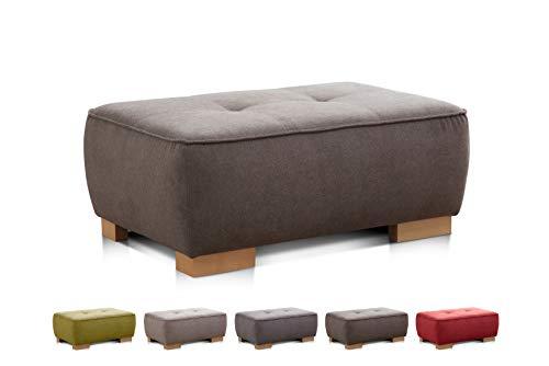 """Cavadore XXL Sofa-Hocker \""""Zappo\"""" / Fußbank, Beistellhocker, Polsterhocker passend zu Polstermöbel \""""Zappo\"""" / Modernes Design / Holzfüße / 100 x 40 x 66 / Braun"""