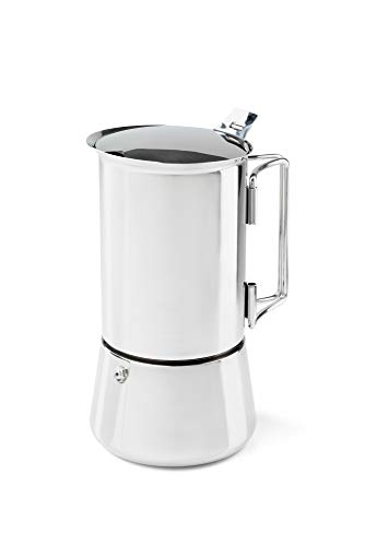 GSI Outdoors 6 Cup Stainless Steel Moka Stovetop Espresso Coffee Pot for Camping, Travel and Cabin