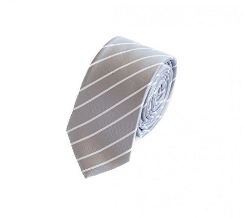 Fabio Farini - Cravate homme à rayures slim 6cm moderne gris avec de fines rayures blanc