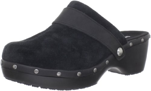 Crocs Women's Cobbler Stud Leather Clog,Black/Black,7 M US