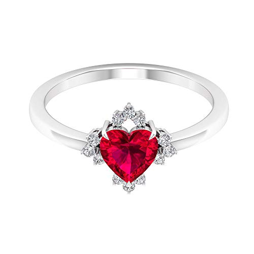 1 Ct Heart Shape Ruby Glass Filled Solitaire Ring, Unique Wedding Engagement Gold Ring, 0.12 Ct Diamond Cluster Bridesmaid Ring, SGL Certified Gemstone Women Ring, 14K White Gold, Size:UK Z