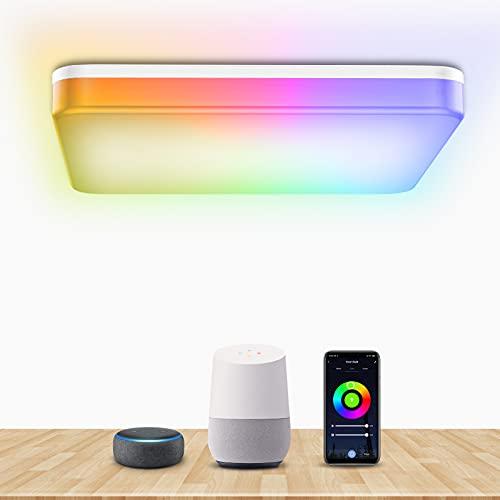 Bewahly Plafoniera LED WiFi, 28W Smart Lampada LED Soffitto RGB Dimmerabilie, Controllo da APP, Compatibile con Alexa e Google Home, IP54 Plafoniera Quadrata Adatto a Camera da Letto, Cucina, Bagno