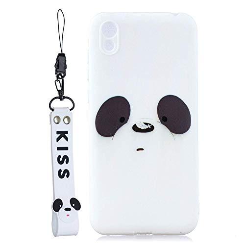 Coque Compatible avec Huawei Honor 8S Souple TPU Silicone Cute Panda Antichoc Case Etui Ultra Resistante Cover pour Filles+Lanyard Dragonne Poignet