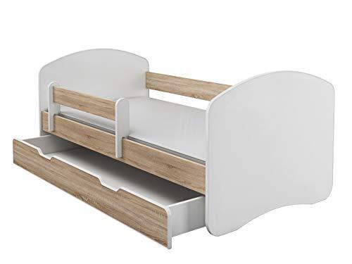 Kinderbett Jugendbett mit einer Schublade und Matratze Weiß ACMA II (140x70 cm + Schublade, Eiche Sonoma)
