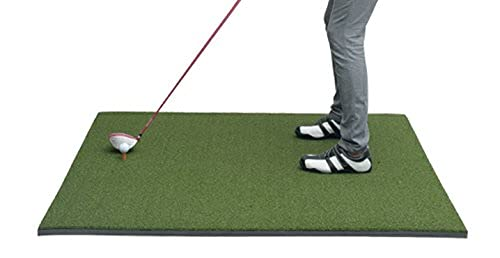 P4G 3' x 5' Primary Putting Practice mat Professional Fairway Mat, Golf Hitting Mat with 12mm Nylon Turf and 10mm EVA Base, Foldable Golf mats Pack with Carton Box