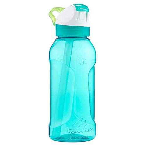 Quechua Trinkflasche 900 Tritan Schnellverschluss Trinkhalm Türkis 0,5 Liter Wasserflasche Flasche Kinder Schule Arbeit Sport
