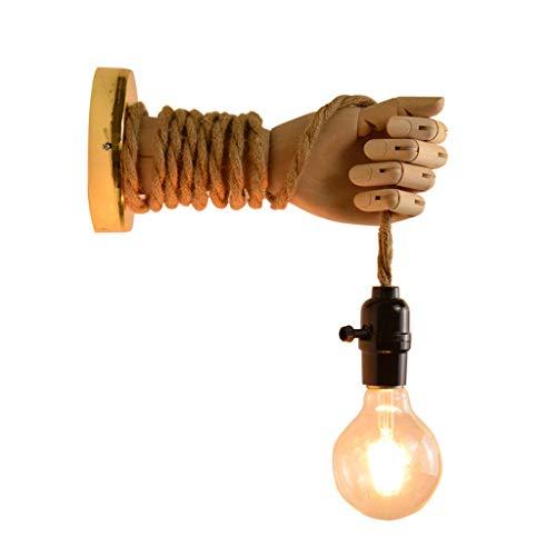 Vintage Hanfseil Wandleuchte, Kreative Holz Hand Design Wandlampe, Rustikal Wandleuchte für Design Kreative Holzhand mit Hanfseil Wandleuchte(Glühbirne ist nicht im Lieferumfang enthalten),B