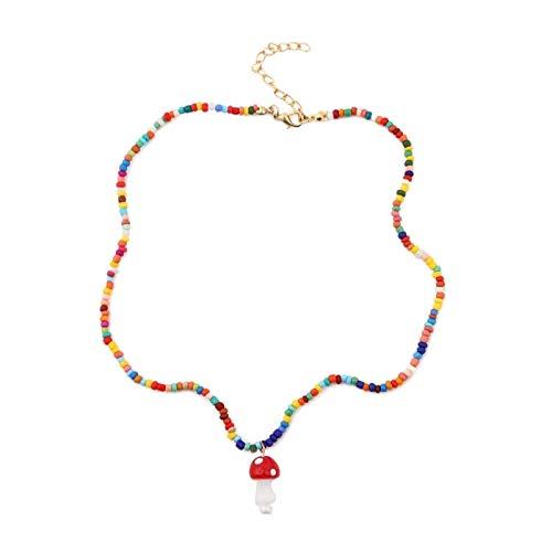 SDENSHI Colgante de Forma de Hongo con Cadena de Cuentas de Colores Bonitos para Mujeres, Niñas, Hijas