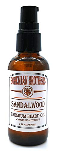 SALE - Bohemian Brothers Grooming. Deep Conditioning Anti-Itch Beard Oil with Argan and Vitamin E. Old School Sandalwood Scent (2 oz).