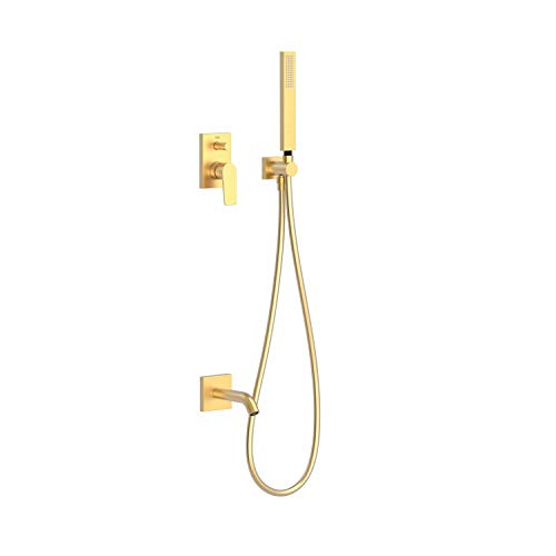 PROJECT-TRES Kit de baño-ducha monomando empotrado con cierre y regulación de caudal. · Cuerpo empotrado incluido · Caño bañera. · Soporte con toma pared. · Ducha móvil anticalcárea. · Flexo SATIN.