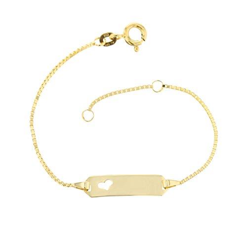 JC Trauringe 585 Gold Baby ID-Armband Kinder Goldarmband 14 cm mit Herz I Venezia Armband mit Gravur Taufarmband Gold Namensarmband I Babyarmband mit Namen Kinderschmuck made in Germany I 5.54310HERZ