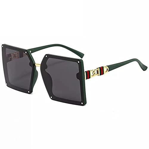 LUBENWEI Gafas de Sol de Moda Verde Rojo Verde Piernas Cuadradas Marco Polarizado Gafas de Sol Polarizadas (Color : Green+Black)
