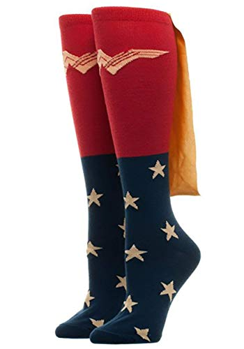 Bioworld Women's Caped Knee High Wonder Woman Movie Socks Standard, Red, One Size