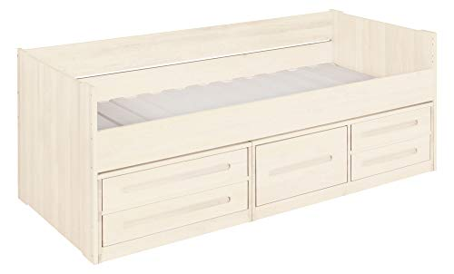 BioKinder Lina-slaapbank Stapelbed Functioneel bed met laden van massief houtgrenen 90 x 200 cm, voorkant wit geglazuurd
