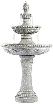 "John Timberland Pineapple Italian Outdoor Floor Water Fountain 44"" High 3 Tiered Bowls for Yard Garden Patio Home Deck"